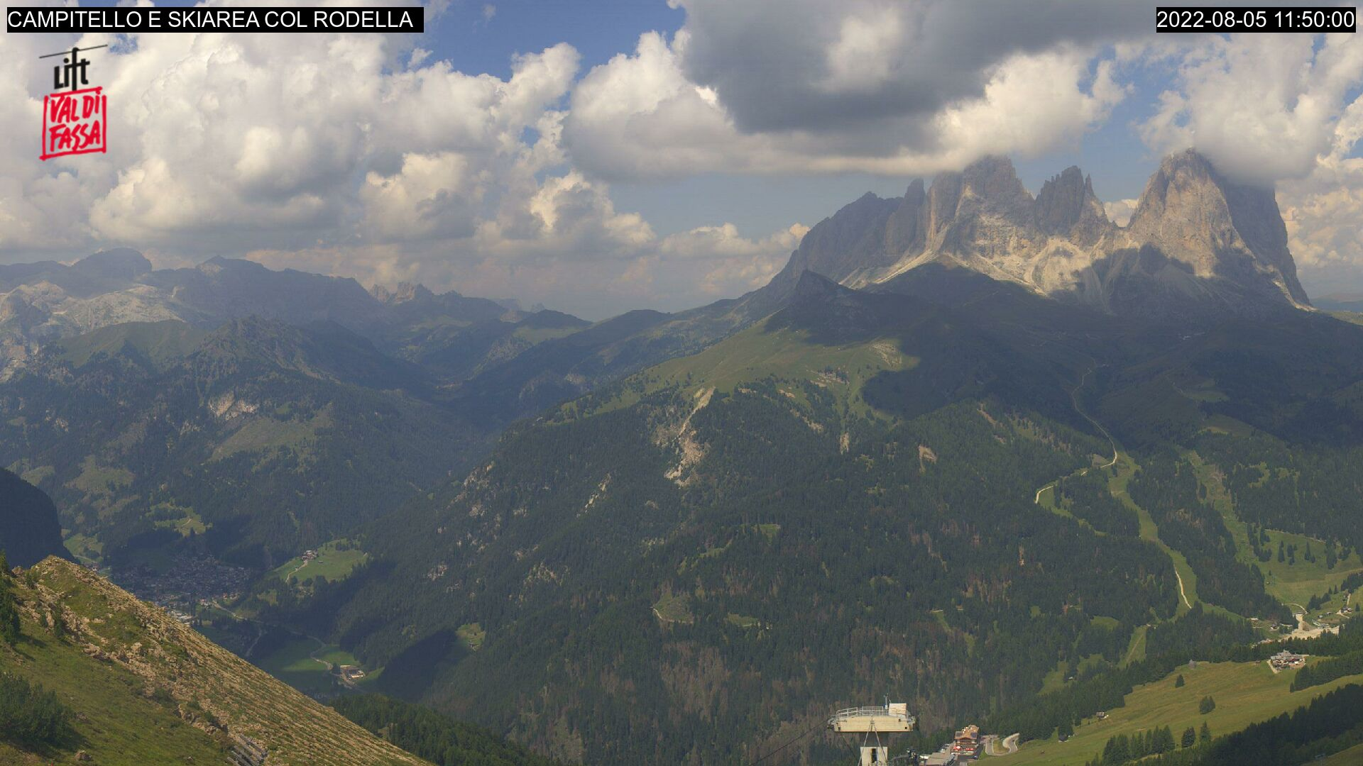 Webcam Campitello di Fassa - Col Rodella - Sassolungo - Altitude: 2,413 metresArea: Col dei RossiPanoramic viewpoint: static webcam. View from the top station of the cable car