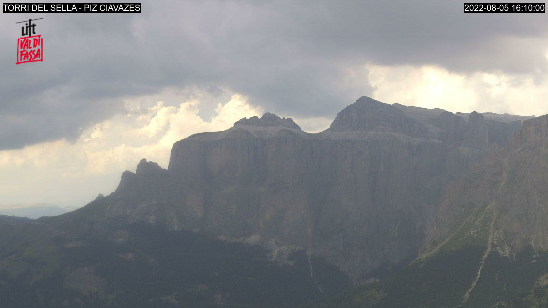 Webcam Campitello di Fassa - Passo Sella - Altitude: 2,413 metresArea: Col dei RossiPanoramic viewpoint: static webcam. View on Torri del Sella and Piz Ciavazes. Passo Sella can be reached by car from Canazei and links Val di Fassa to the near Val Gardena.